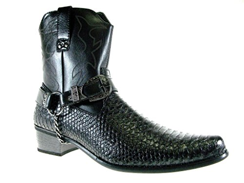 Alberto Fellini Men's Japan Faux Snake Westren Cowboy Style Calf High Dress Boots