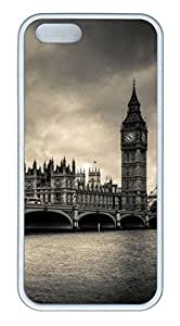 iPhone 5S Case, Personalized Protector Case Big Ben for iPhone 5/5S Rubber TPU White Edge Cover