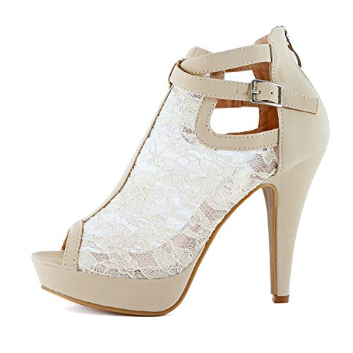 Guilty Shoes Womens Cutout Gladiator Ankle Strap Platform Block Heel Stiletto Sandals (8 M US, Beige Lace)
