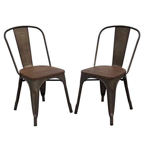 Purenity Metal Stack-able Industrial Chic Dining Bistro Cafe Side Chairs,Outdoor and Indoor,Set (2 Cafe Chairs)