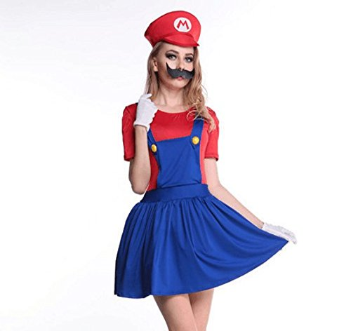 Adult Themed Costumes (Women's Super Mario Skirt Cosplay Adult Costume for Halloween Large (Large))