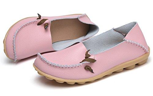 VenusCelia Frauen Comfort Walking Netter Flacher Loafer Rosa