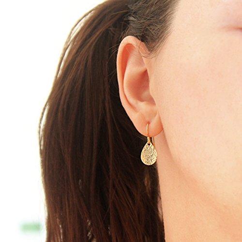 (Small Teardrop Earrings, Gold Filled Pear Shaped Hammered Earrings, Everyday Earrings)