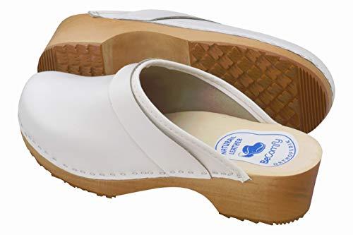 Clogs Imprimé Bois Avec Sandales Sabots Cuir Blanc Becomfy À Vk Model Mules En Pour Blanc Femme Talons lisse 7qg8xBwp