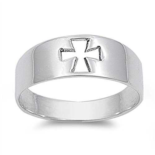 - High Polish Cutout Cross Purity Ring New .925 Sterling Silver Band Size 8