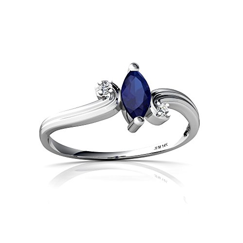 14kt White Gold Lab Sapphire and Diamond 6x3mm Marquise Ocean Waves Ring - Size 9