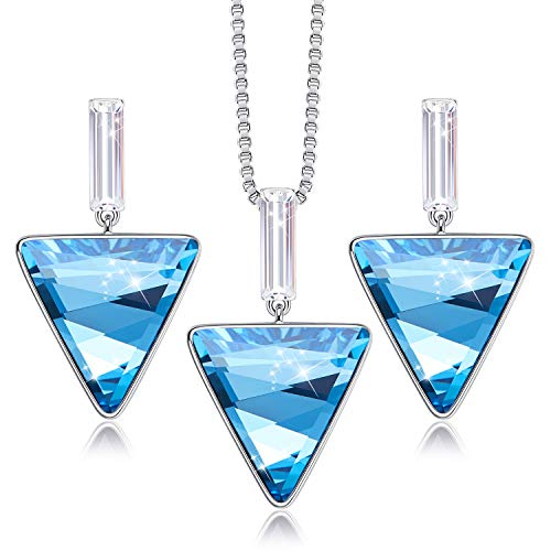 CDE Triangle Pendant Necklaces and Earrings Set for Women Embellished with Crystals from Swarovski Jewelry Set Mom Gifts