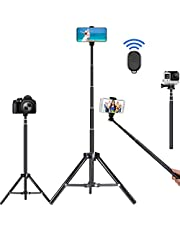 Selfie Stick Tripod, 62 inch Ultra-long Extendable Selfie Stick Tripod Stand Aluminum Alloy with Bluetooth Remote for iPhone 13 12 11 Pro XS MAX X XR 8 7, Samsung Galaxy S21 S20 S10 S9 Plus Ultra Note