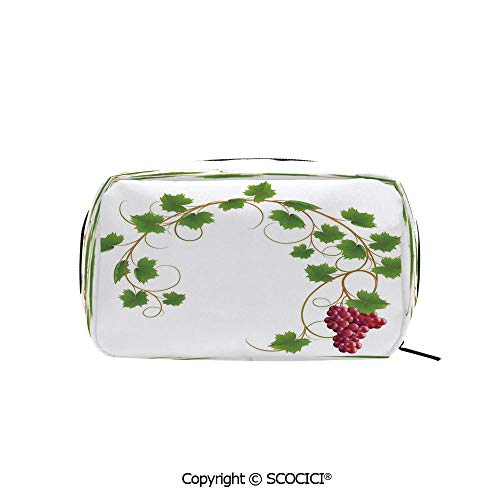Printed Makeup Bag Organizer toiletry bags Curved Ivy Branch Deciduous Woody Wines Seed Clusters Cabernet Kitchen Rectangle Cosmetic Bags for Girls ()