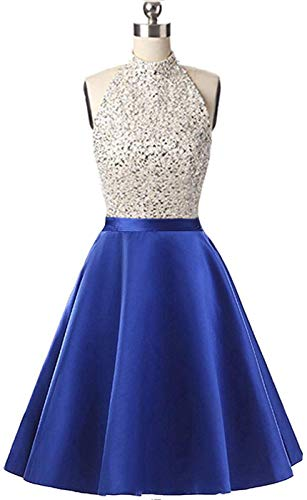 Lady Dress Women's Beaded Body Halter Homecoming Dress Short Sequined Keyhole Back Cocktail Dress Prom Gowns (Beaded Halter Cocktail Dress)