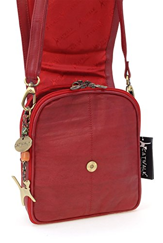 Sac type signé Catwalk cuir Rouge Collection besace