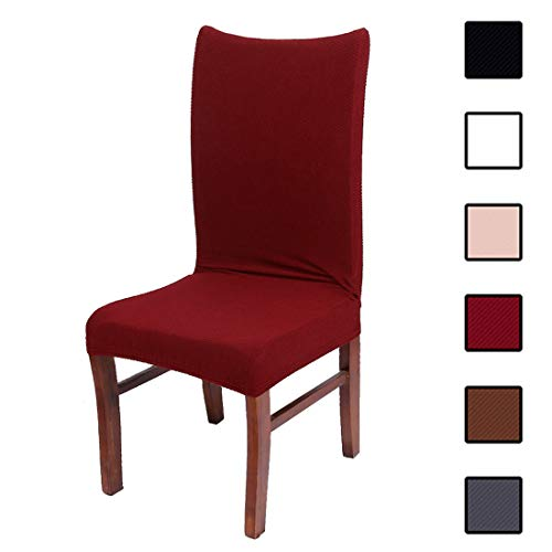 Colorxy Stretch Dining Room Chair Slipcovers - Spandex Fabric Removable Chair Protector Jacquard Knitted Home Decor Set of 4, Wine Red