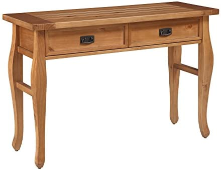 Spencer Solid Pine Wood Natural Finished bronze Finished Hardware 2 Drawer Console Table 30 H X 44.02 W X 15.98 D