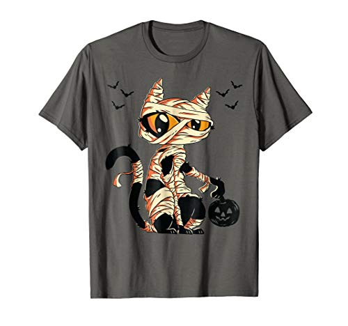 Black Cat Mummy With Scary Pumpkin Adult & Toddler T-Shirt -