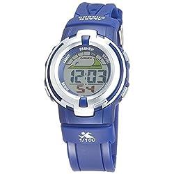 Casual Water-proof Sports Digital Wrist Watch Blacklight Stopwatch Alarm for Girls Boys (Blue)