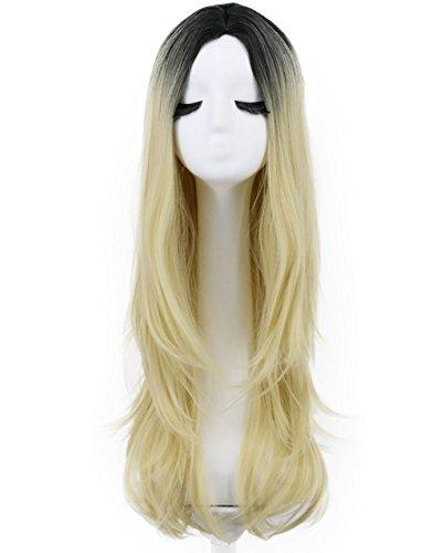 Karlery Women Long Wave Dark Root Gradient Wig Cosplay Halloween Wig Natural As Real Hair (Blonde) -
