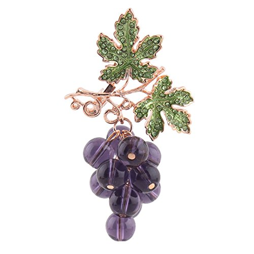 Gold Plated or Silver Plated Rhinestone Leaf Brooches Purple Crystal Grape Shape Brooch Pins (gold)