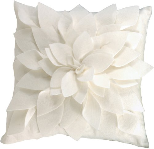 Sara's Garden Petal Decorative Throw Pillow. 17 Inch Square. (Ivory , One Size) by fenncostyles.com