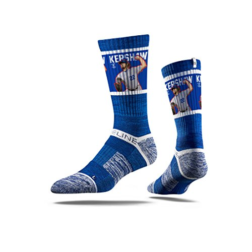 Strideline MLB PA Los Angeles Dodgers Clayton Kershaw Premium Crew Socks, Blue, One Size
