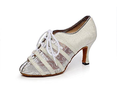 Minitoo QJ6229 Women's Color Block Satin Latin Salsa Dance Shoes Silver