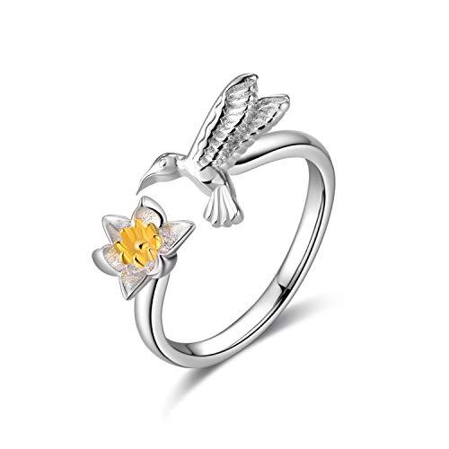 WINNICACA Hummingbird Rings Sterling Silver Lotus Flower Rings Adjustable Size 6-9 for Women Girls Yoga Gifts