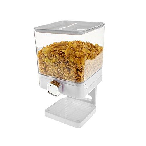 Dispensador de cereales individual, doble o triple, hermético, con bandeja antiderrames integrada para alimentos secos, cereales, comida de mascotas y ...
