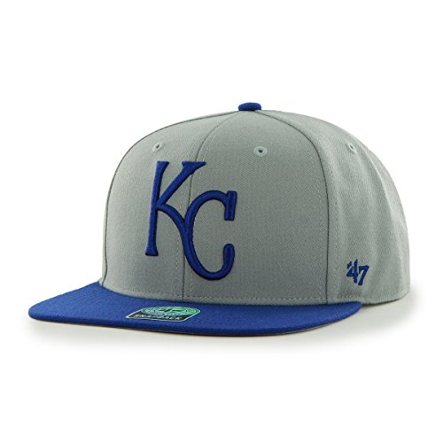 '47 MLB Kansas City Royals Sure Shot Two Tone Captain Wool Adjustable Hat, One Size, Gray