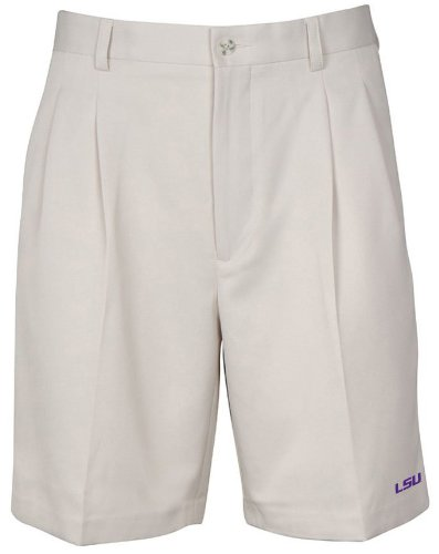 Oxford NCAA LSU Tigers Men's Double Pleat Shorts, 32, Stone