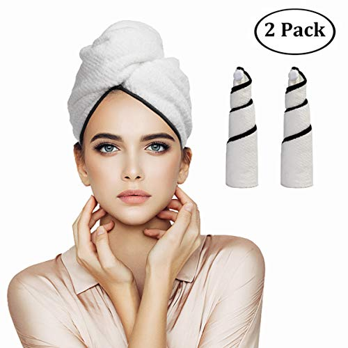 Orthland Microfiber Hair Towel Wraps for Women [2 Pack] Anti-frizz Quick Dry Magic Head Turban Hat Shower Caps for Long Thick & Curly Hair, Super Absorbent, Fast Drying & Never Falls Off