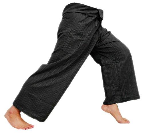Mens Womens Stripe Cotton Capri Fisherman Wrap Pants Trousers Yoga Pants Thailand - Black