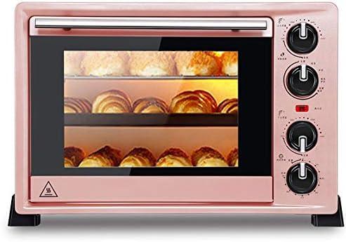STBD-電気オーブン、デスクトップオーブン、エナメルベーキングトレイ、回転グリルフォーク、グリルネット、グリルフォークブラケット、熱傷防止トレイハンドル、スラグトレイ、36L、ピンク