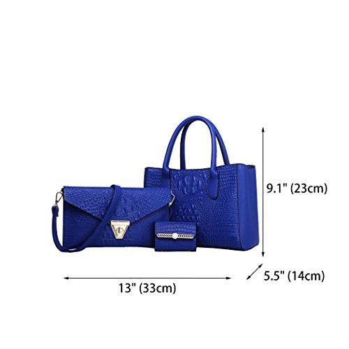 a a Pelle Borse a Borse Borse Borse Borse secchiello mano Blu Donna tracolla pezzi Blu 3 a spalla Tote w67Iqn