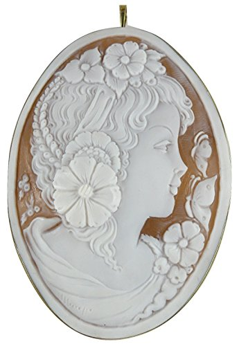 Cameo 80 MM x 56.2 MM Sardonyx Shell Lady Pin and Pendant 14K Yellow Gold
