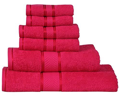 Divine Elegance - 100% Cotton, Soft, Extra Absorbent, Quick Dry & Durable, 450 GSM, 6 Piece Towel Set (2 Bath Towels 2 Hand Towels 2 Face Towels) - Romantic Fuchsia
