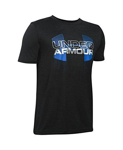 Under Armour Boys' Tech Big Logo Hybrid T-Shirt, Black (003), Youth X-Small