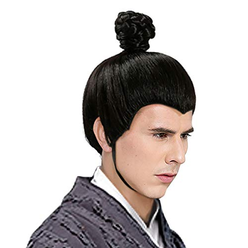 Wraith of East Ancient Han Chinese Swordmen Scholars Prince Knight Short Wig Men's Hair Halloween Asian Hairpiece Black Ancient Wig -