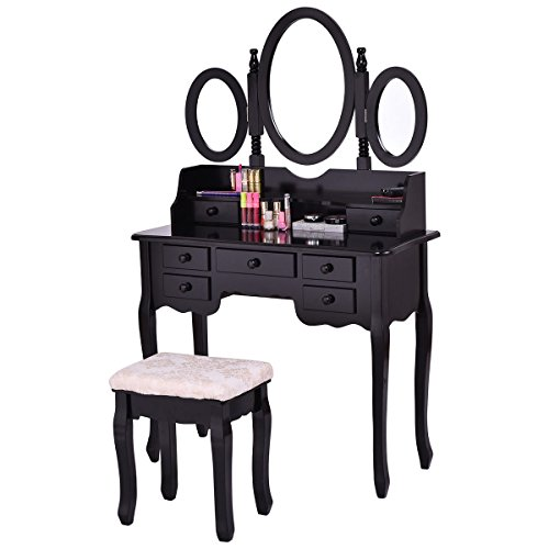 tribesigns wood makeup vanity table set with 3 mirror stool bedroom dressing table good. Black Bedroom Furniture Sets. Home Design Ideas