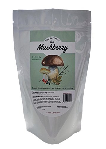 (Mushberry Siberian Dried Porcini Mushroom Powder 3.5 oz 100 g | Truly Wild and Natural | Great Source of Umami | Porcini Rub 2018 Harvest | All-natural)