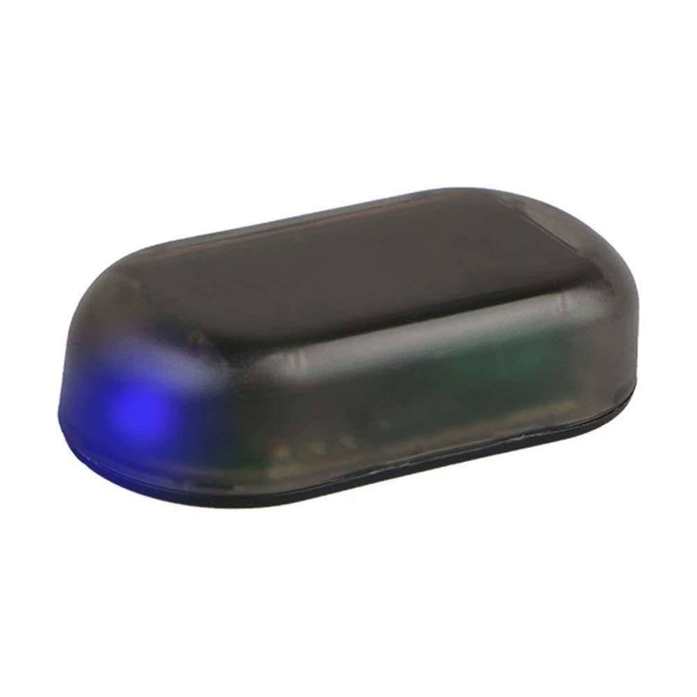 Blue KingFurt 1pcs Car Solar Power Simulated Dummy Alarm Warning Anti-Theft LED Flashing Security Light Fake Lamp