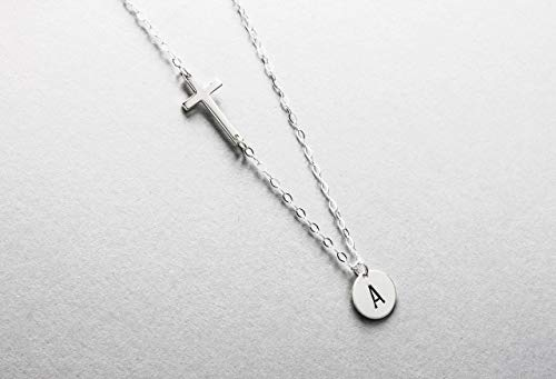 Personalized Cross Necklace, Sideways Cross with Initial Disc Necklace, 100% Sterling Silver, Mothers Necklace, Gift for God Daughter, Baptism or Confirmation Present