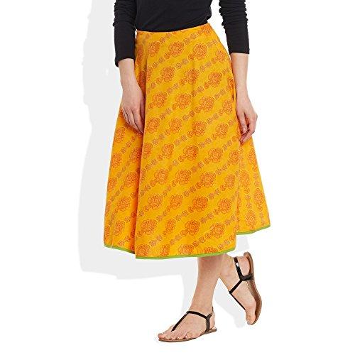 ShalinIndia Damen Bekleidung Baumwolle gedruckt mittellanger Rock a-Linie Gelb 1 9fBReqLX