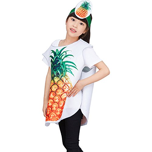 DREAMOWL DIY Very Easy Sew Kids Vegetable Fruits Costume Uncut Sewing Pattern for Parent-Child (Pineapple, 3-10years) -