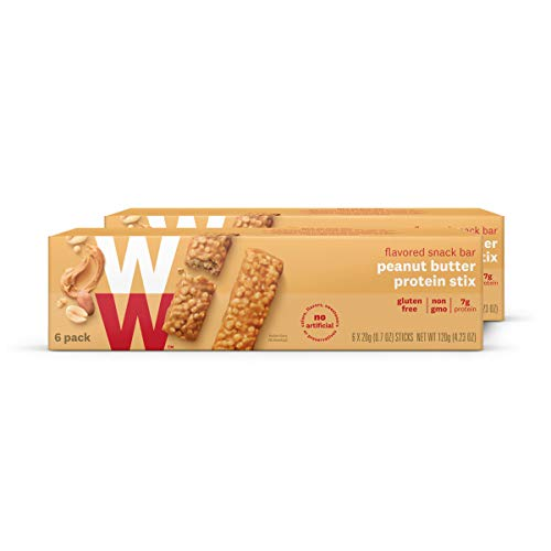WW Peanut Butter Protein Stix - Gluten-free, High Protein Snack Bar, 2 SmartPoints - 2 Boxes (12 Count Total) - Weight Watchers Reimagined