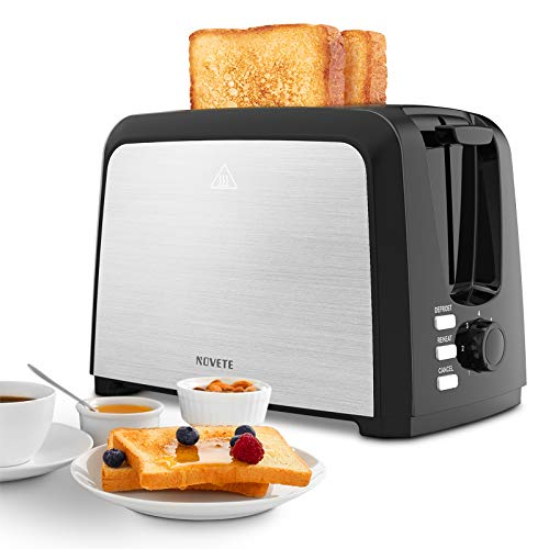 Toaster 2 Slice Best Rated Prime, NOVETE Wide Slot Toaster with 7 Bread Shade Settings & Removable Crumb Tray, Great…