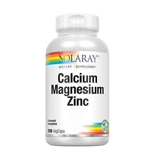 Solaray® Calcium, Magnesium, Zinc | High Absorption with Glutamic Acid | Healthy Bones, Teeth, Nerve, Muscle, Heart & Immune Function Support | 250ct