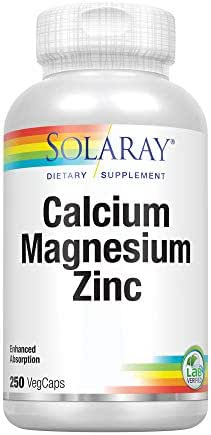 Solaray Calcium, Magnesium, Zinc | High Absorption w/Glutamic Acid | Healthy Bones, Teeth, Nerve, Muscle, Heart & Immune Support | 250 VegCaps