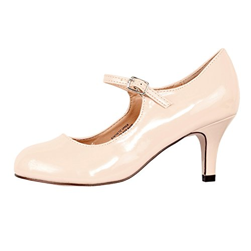 Womens Classic Mary Jane - Vintage Cute Low Kitten Heel - Round Closed Toe - Elegant Pumps-Shoes, Nude Patent, 5.5 Womens Medium Heel Short