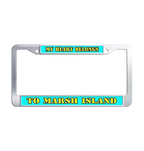 Hensonata My Heart Belongs to Marsh Island Stainless Steel License Plate Frame, Hippie Desing Printed Waterproof Car Decoration Metal Car Plate Frame with Holes Bonus Matching Screws Cap