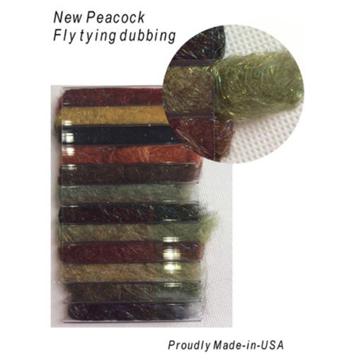Riverruns 12 Kinds of Dubbing Fly Tying Materials Dispenser Large Box 12 Natural Color New Proudly from Europe Steelhead,Salmon,Saltwater,Warm Water, Worldwide! (New Peacock Dubbing)