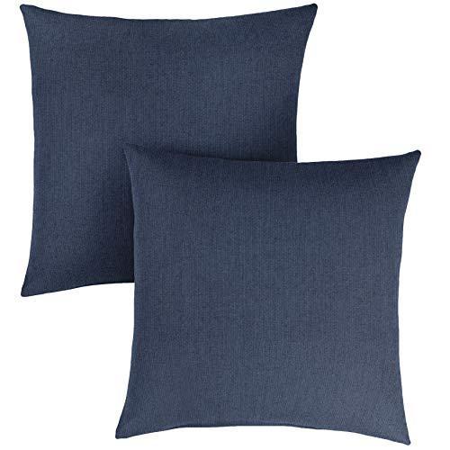 1101Design Sunbrella Spectrum Indigo Knife Edge Decorative Indoor/Outdoor Square Throw Pillow, Perfect for Patio Decor - Indigo Blue 22